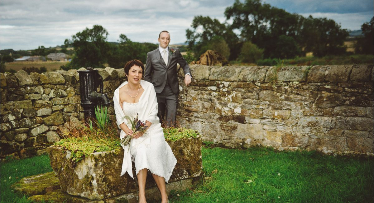 bride and groom portrait at high house farm