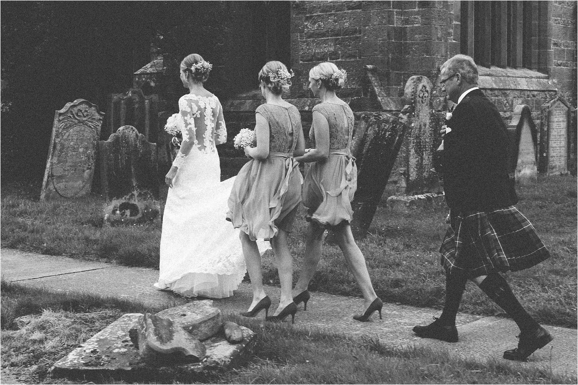 bride and bridesmaids arrival embleton church wedding northumberland