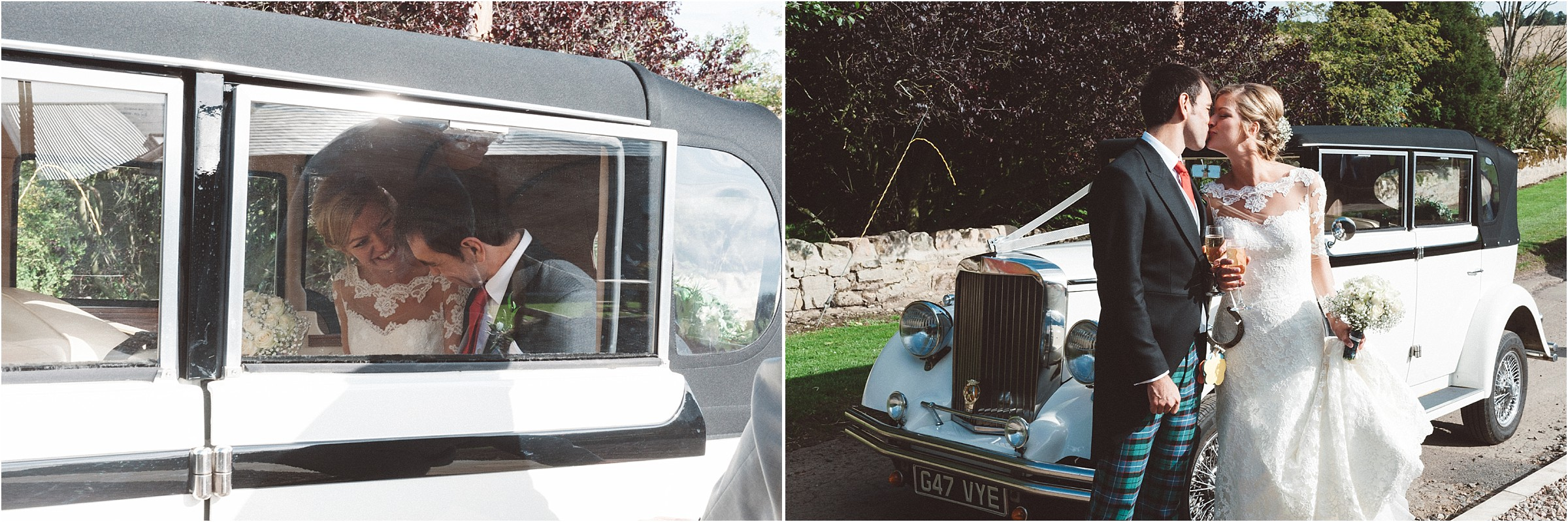 bride & groom arrive in vintage car doxford barns northumberland